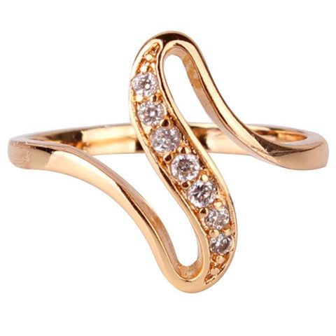 Rings 18K Gold Plated wedding Cubic zirconium CZ vintage Bijoux R103-GKandaa.net