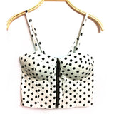 Summer Women Girls Sweet Floral Bustier Padded Zipper Crop Tank Tops Sexy Blouses X16 - GKandAa - 14