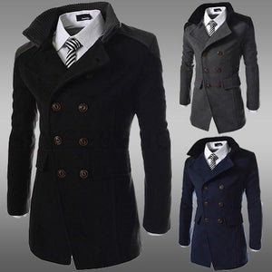 Men's Coats Jackets Size M-3XL Spring Double Breasted Wool-GKandaa.net