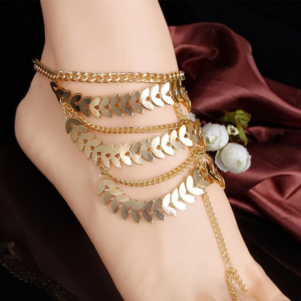 1 PC New Punk Gold Multilayer Tassels Chain Anklets Fashion Jewelry Link Ankle Bracelets for Women AL011 - GKandAa