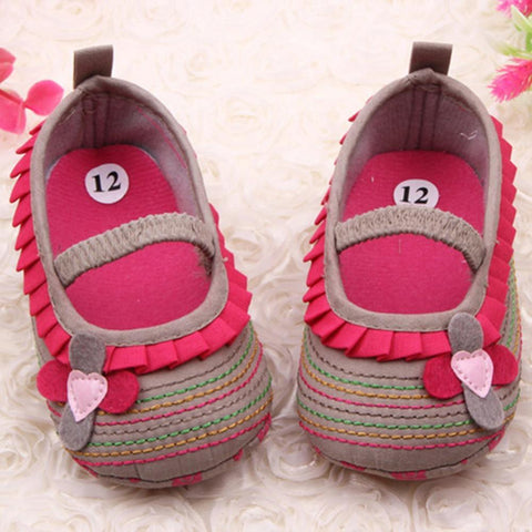 Baby Shoes 0-12M Sweet Ruffled Toddler Soft Bottomanzellina.myshopify.com