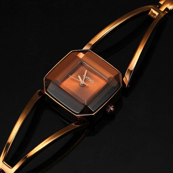 Women Wrist Watch Luxury stainless Steel Hollow Square Bracelet-GKandaa.net