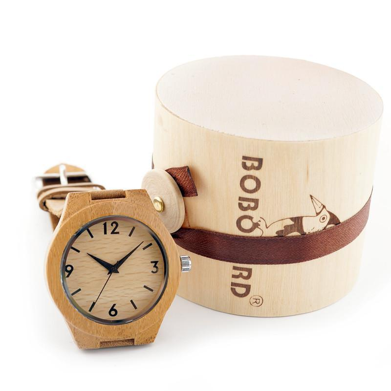 Women Wrist Watch Bamboo Wooden With genuine leather Gifts Box-GKandaa.net
