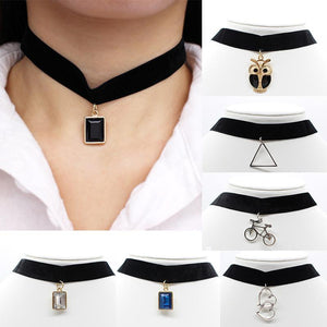 Choker Necklace Outfits  Black Faux Leather  Velvet Rope Crystal-GKandaa.net