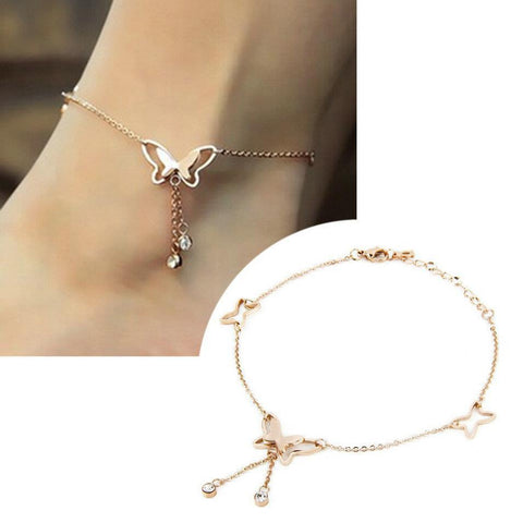 Women's Anklets 1Pcs Bracelets Butterfly Rose Gold Plated Tassels For Ankle-GKandaa.net