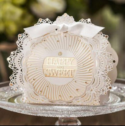 Romantic Lace Wedding Gift and favors Box Elegant White Luxury Decoration Laser Cut Party Sweet Guest Paper Candy Bag - GKandAa