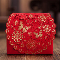Red Gift Bag Flower Butterfly Elegant Luxury Laser Cut Party Sweet Favors Wedding Decoration Paper Candy Box For Guest - GKandAa