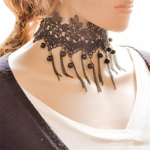 Choker Necklace Outfits  Black Tassel Hollow Lace Flower Tattoo-GKandaa.net