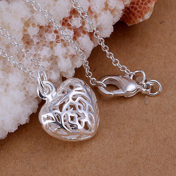 Charm Delicate 3D Hollow Heat 925 Plated Silver Necklaces Pendant Valentine Day GKandAa