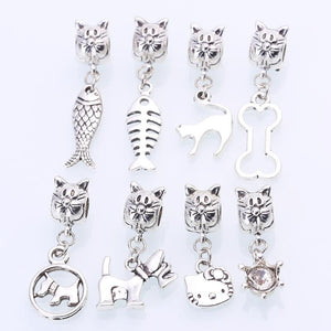 Charm Bracelets Beads Tibetan Silver Mixed Cat Diy Animal 8pcs/lot-GKandaa.net
