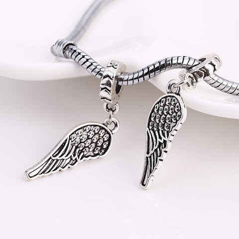 Charm Bracelets Beads Tibetan Silver Wings Diy Angel Wings 10pcs/lot-GKandaa.net