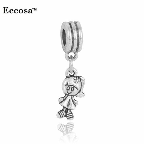 Charm Bracelets Beads Silver Plated Cute Girl Pendants 5PC/Lot Diy-GKandaa.net