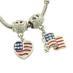 Charm Bracelets Beads 50pcs/lot Enamel Flag Of The United States-GKandaa.net