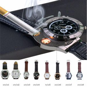 Men's Watches Electronic USB Lighter Windproof  Cigarette Quartz-GKandaa.net