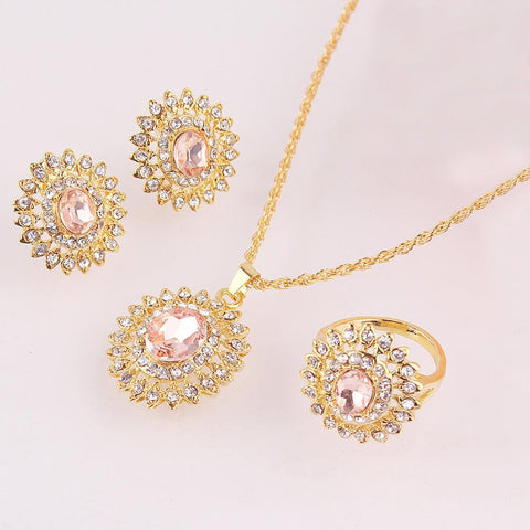Jewelry Sets Sell: 18 Gold Plated Austria Crystal pendant lace earring-GKandaa.net