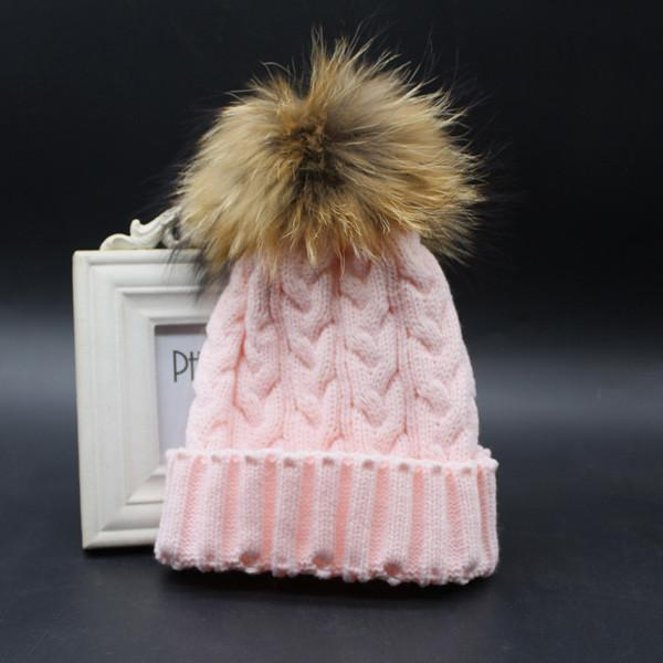 Women's Beanies Warm Wool 100% Real Fur Pompom hat-GKandaa.net
