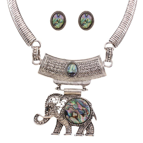 Vintage Jewelry Sets Statement Colorful Resin Elephant Necklaces & Pendants Antique Silver Stud Earrings Sets N36551 - GKandAa