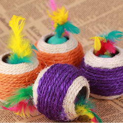 Big Six Holes Sisal Ball Cat Scratch Ball Dog Cat Toys Pet Balls Products Diameter 12 cm #FM0501 - GKandAa