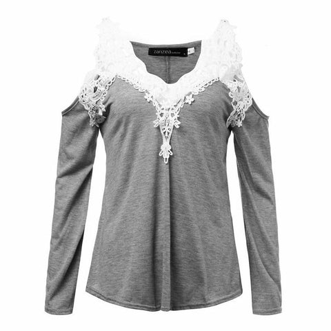 ZANZEA Lace Patchwork Blouse Women Casual Cotton Sexy Off Shoulder V Neck Shirt Ladies Long Sleeve Plus Size Tee Top - GKandAa - 3