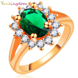 Rings 18K rose gold plated CZ diamond crystal classic wedding H2503-GKandaa.net