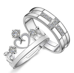 1 Pair =2pcs Silver Plated Ring Jewelry Engagement Love Crown Cross Zircon Wedding Lovers Couple Rings for Women Men - GKandAa