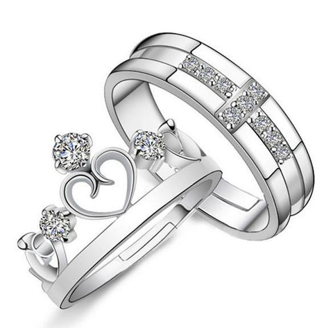 Rings 1 Pair =2pcs Plated Love Crow Cross Zirconium wedding Lovers-GKandaa.net