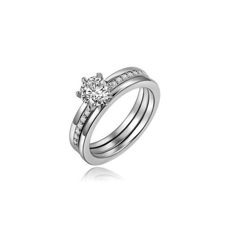 Ring 18 white gold filled CZ zircon set wedding gift ladies R1529-GKandaa.net