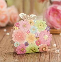 Wedding Favors And Gifts Box Flower Butterfly Laser Elegant Luxury Decoration Party Event Supplies Paper Candy Bag For Guests - GKandAa