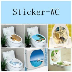 32*39cm Sticker WC Pedestal Pan Cover Sticker Toilet Stool Commode Sticker home decor Bathroon decor 3D printed flower view - GKandAa - 1