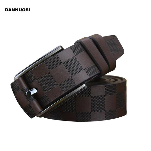 Men's Belts 100% high quality leather plaid casual fashion luxury-GKandaa.net
