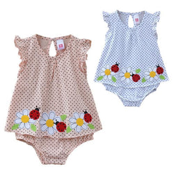 Kids, baby, Baby girl dotted with three flowers ladybug daisies romper summer jumpsuits 4size (6M-9M-12M-18M) free shipping - GKandAa - 1