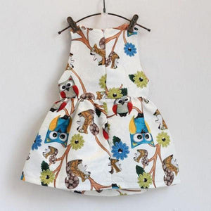 Baby Dress Trendy sleeveless Owl Print One Piece Party-GKandaa.net