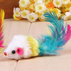Pet Products For Cats Toys Pet Cat Funny Toys Colorful Mouses Shape With Feather Conejos Mascota - GKandAa - 1