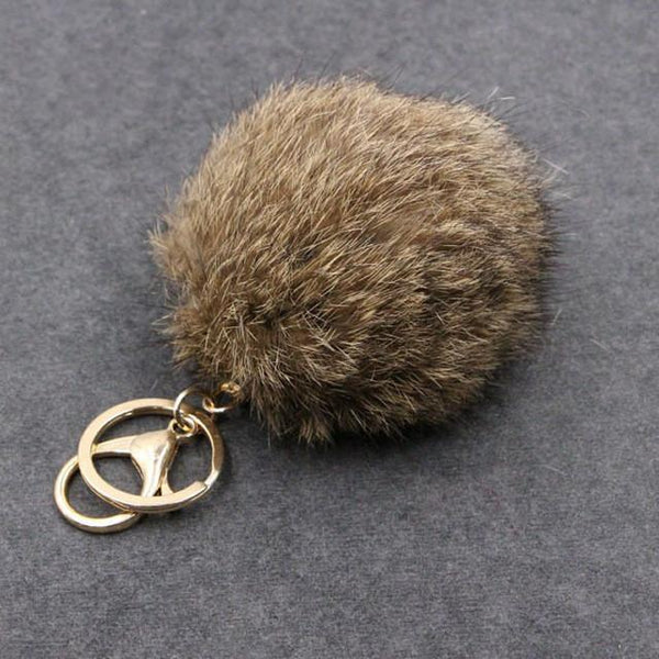 Rabbit Faux Fur Ball Keychain  28 colors Pom Pom Charm Ball-GKandaa.net