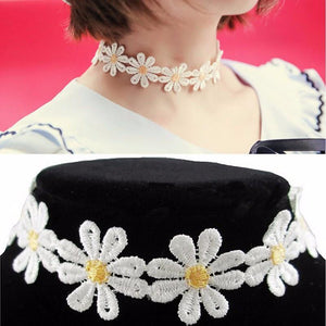 Choker Necklace Outfits  1Pc Yellow & White Daisy Flower Tattoo-GKandaa.net
