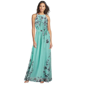 Women's Summer Dresses Plus Size Fashion Flora Printing Maxi Dresses-GKandaa.net