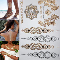 Free shopping new fashion flower body and I temporary henna tattoos metallic gold and silver bracelet stickers Flash tattoo art - GKandAa