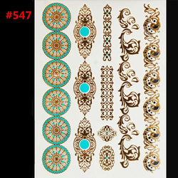 Hot sex products body art tattoo disposable Indian gold flash temporary tattoos - GKandAa