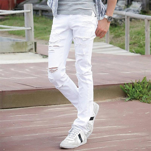 Men's Jeans White Ripped With Holes Slim Fit-GKandaa.net
