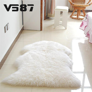 Home Textile Carpet Hairy Sheep Artificial Textile Cover Mat Washable - Gkandaa.net
