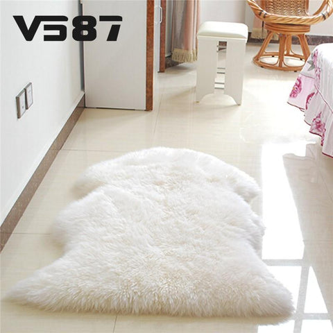 Home Textile Carpet Hairy Sheep Artificial Textile Cover Mat Washable-GKandaa.net