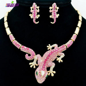 Jewelry Sets Lizard lace earring with Crystal FA3274-GKandaa.net