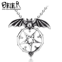 Beier Wholesale Stainless Steel Vintage Bat Pentacle Pendant Necklace For Man and Woman BP8-139 - GKandAa