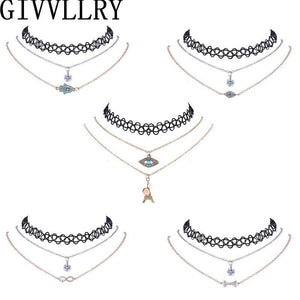 Choker Necklaces with Pendant   for Women Vintage Crystal Hand Eye-GKandaa.net