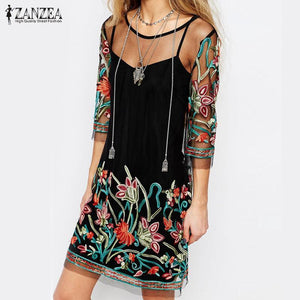 Women's Summer Dresses Vintage Floral Embroidery Lace Mesh Mini Dress-GKandaa.net