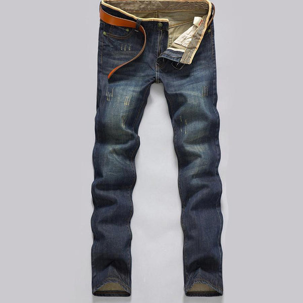 Men's Jeans winter pants modern Straight Fell length Slim Solid-GKandaa.net