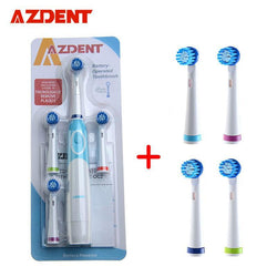 AZdent Hot Sell Battery Operated Electric Toothbrush with 4 Brush Heads and 4 another brushes head Oral Hygiene Health Products - GKandAa