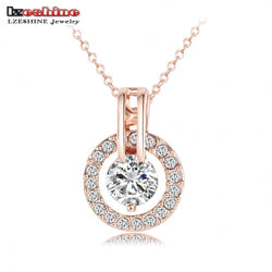 LZESHINE Circle Round Pendant & Necklaces 18K Rose Gold Plated New Christmas Jewelry Top Quality Pingente Ouro NL0455-A - GKandAa