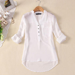 Women's Blouses Shirts 1PC Spring V-neck- half Sleeve-GKandaa.net