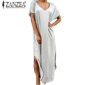 Maxi Dresses V neck Short Sleeve Plus Size Casual Loose Beach Dress - Gkandaa.net